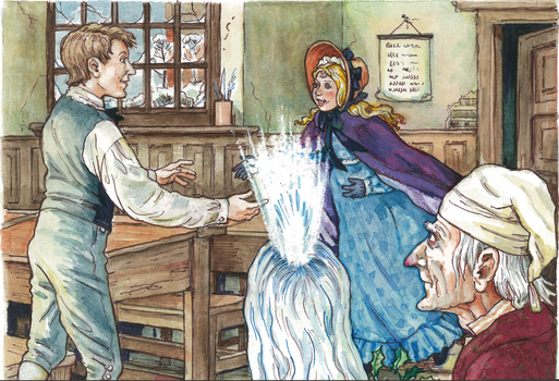 in stave two of a christmas The ghost of christmas past is the first spirit to visit scrooge this ghost looks like a child but has very muscular arms and a light shining from his head.